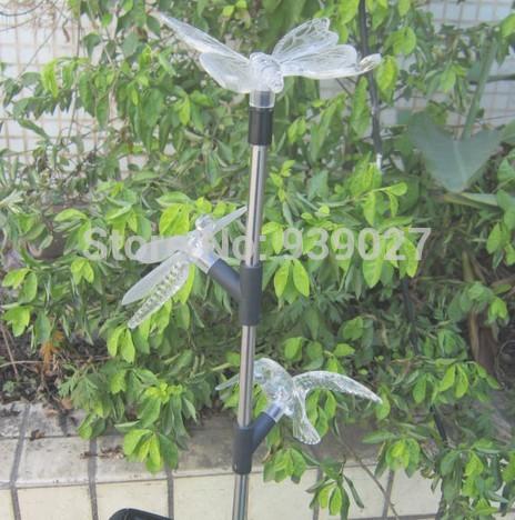 New 2014 3 LED Acrylic Butterfly+Dragonfly+Bird solar lawn lamp outdoor&garden Lamp solar butterfly+dragonfly+bird lights(China (Mainland))