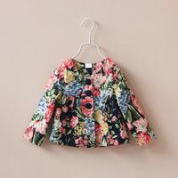 Retail 2014 Flora Printed Children Outwear Fashion Autumn Long Sleeve Flower Kids Jackets Coats Baby Girls Coat c20