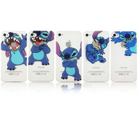 2014 New arrival  Transparent Ultra Thin cute cartoon Stitch pattern transparent Cover case for apple iphone  4 4S PT1266