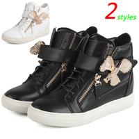 GZ Punk Genuine Leather Eagle Decoration Fashion Sneakers,Double Zipper,Street Shoes,EU35-39,Height Increasing 4cm,Women's Shoes