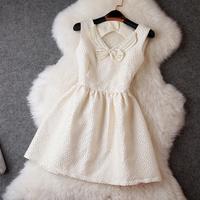 2014 New Fashion Casual Women Dress Handmade Beading Print Dress Retro Luxury Brand Jacquard Elegant Bowknot Celebrity Dresses