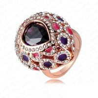 Retail-Free Shipping New Arrival Vintage Exaggerated Rings 18K Rose Gold Plated Colorful Austrian Crystal   Element Ring