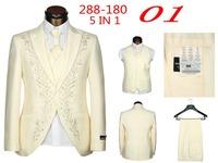 New 2014 Brand Men Suits Fashion Wedding Suits For Men 5 Piece Set (Jacket + Pants + Ma3 Jia3+ Tie + Square Towel)