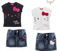 Girls Clothing Sets Baby Girls Hello Kitty Cartoon Suit  T Shirt+ skirt 2 pcs Sets  retail free shipping SS162