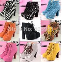 Fashion Thick Heel Round Toe High Platform Ankle Boots 2014 Autumn Winter Spring