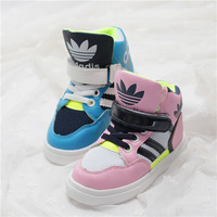 2014  autumn children shoes color block decoration patent leather soft outsole high baby sport shoes star style