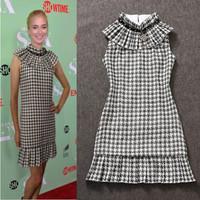 2014 summer fashion runway dress women plaid print beading woolen tank dresses party evening dress vestido de festa