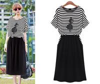 New Arrival 2014 Hot Sale Women Summer Dress Preppy Casual Stripe Color Block Half Sleeve Slim Hip One-piece Dress Women's Dress