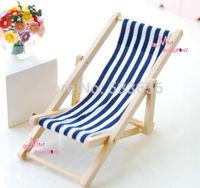 1/12 Dollhouse Miniature foldable Blue white Beach Chair chaise longue Furniture Doll Accessories