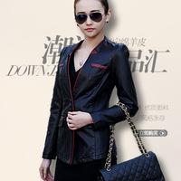Free Shipping 2014 New Large Size Genuine Leather Clothing Short Sheepskin Patchwork Slim Leather Jacket Women,M L XL 2XL 3XL