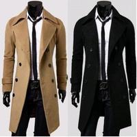 New 2014 Winter Men Long Double Dreasted Trench Coat Moleton Male Overcoat Casaco Masculino Windbreaker For Men Wool Overcoat