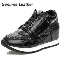 Popular ASH Rivet Genuine Leather Fashion Sneakers,Black Running Shoes,EU 35~39,Height Increasing 5cm,Sports Shoes,Women's Shoes