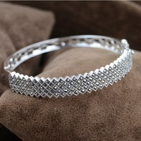 100% real pure 925 sterling silver bangle/bracelet women exquisite mosaic bangle best gift free shipping MKS50028