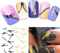 Free shipping Nail Art Water Transfers Stickers Decals Metallic Gold/Sliver Funky Zipper/Zips