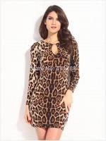 New Arrive 2014 Women's Fashion Autumn Leopard Long sleeve Sexy Club bodycon Dresses Ladies