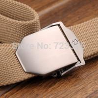 2014 South Korea new brand Men plate metal buckle canvas belt,Men's Lady Outdoor weaving belt,Women leisure joker military belts