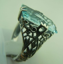 Free shipping custom processing wholesale and retail of Victoria blue gem ancient silver ring 925 vintage