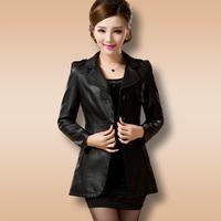 Free Shipping 2014 New Genuine Leather Jacket Slim Medium-long Women's Sheepskin Genuine Leather Jacket Women,M L XL 2XL 3XL 4XL
