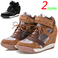 Popular ASH Brown Fashion Sneakers,Boots Cotton Fabric Genuine Leather 2 Styles,Height Increasing 7cm,EU 35~39,Women's Shoes