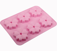 New 6 Holes Small Cherry Blossom Green Good Quality 100% Food Grade Silicone Cake/Pudding/Chocolate Baking Pan DIY mold