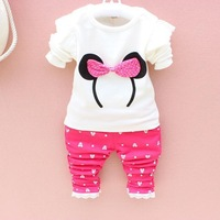baby girls clothing sets 2pcs Bow T-shirt + cartoon Lace embroidered Pants Sets kids autumn clothing set baby outfits 0-4Y