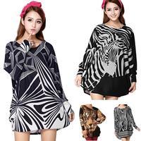 2014 Autumn Winter Long Sleeve Big Size Dress Print Zebra Tiger Womens Loose Long Shirt  Maxi Dresses Wholesale Retails 18WL26