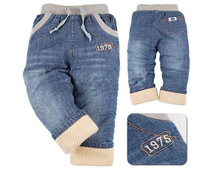 2014 new boys and girls plus velvet jeans boys jeans pants cashmere winter thick section of foreign trade