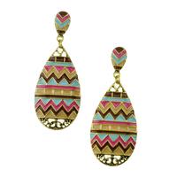 Wholesale Oil Paint Colorful Bohemian Weave Designed Women Fashion Dangle Retro Earring. Vintage Fancy Earrings Jewelry Gift