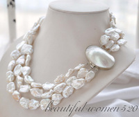 3strands 19mm BAROQUE white KESHI REBORN PEARL NECKLACE mabe clasp  free shipment