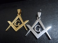Silver/Gold Stainless steel 1.2'' Masonic emblem Charming Pendant Necklace Men