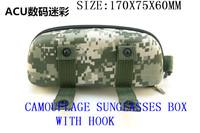 2014 new stock, camouflage sunglasses box, the compressive belt hook, portable sunglasses box.100PCS