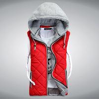 fashion autumn Men vest Hooded couples vest  more color  size M-4XL(MZ00024)
