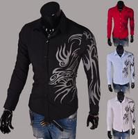 2014 men dragon print long sleeve slim shirt,male collar single breasted  casual shirts ,M-XXL,4colors