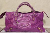 fashion 43cm part time giant golden rivet motorcycle handbag women messenger bag bolsas genuine leather bags designer branded