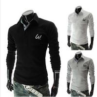 free shipping! 2014 men W letter embroidered long-sleeve polo shirt cotton polos anti-pilling black white gray size:M-XXL
