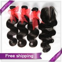 6A Unprocessed Virgin Brazilian Hair Body Wave With Closure 3Bundles Brazilian Hair Extensions 1Pcs Human Hair Top Lace Closure