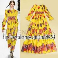 Fall 2014 new European and American big catwalk yellow print dress lotus leaf sleeve elastic waist dress pastoral B072572523