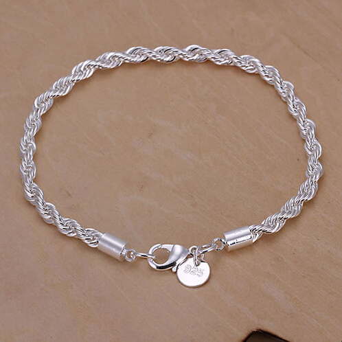 GSSPH207 Free shipping,wholesale,925 silver twisted bracelets,fashion jewelry, 925 silver jewelry,antiallergic,factory price SMT(China (Mainland))