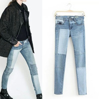 2014 New Autumn Women's Fashion Vintage Contrast color Stitching Denim Pencil Pants Casual Jeans Leisure Long Trousers