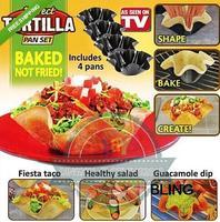 4pcs/lot Tortilla Baking Pan Bakeware Sets Salad Steak Chili Ice Cream Sundae Crispy Bowls As Seen On TV Free Ship Only $10.99