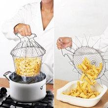 Envío gratis ! Plegable Strain Enjuagar vapor Freír Chef Basket Colador Net herramienta de la cocina Cocina(China (Mainland))