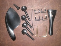 1 Set EBONY Violin Fitting 4/4 with Fine tuner China rest screw & Tail gut all 4/4