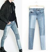 2014 New Autumn Women's Fashion Vintage Contrast color Stitching Denim Pencil Pants Casual Jeans Leisure Long Trousers