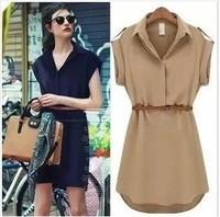 2014 new temperament OL short-sleeved dress casual solid color chiffon dress (send belt)