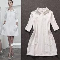 Best Quality!New Runway Fashion Autumn Dress 2014 Women Jacquard Cotton Beads Casual Big Pocket Loose Pattern White Dress XL