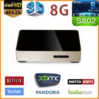Quad cord Amlogic S802 android tv box M802 DDRIII  2GB 8GB Flash android 4.4 Wifi bluetooth XBMC smart tv box free shipping