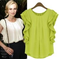 Women European Style Chiffon Blusa Shirt Green 2014 Hotsale Summer Casual Plus size Chiffon Blouse S-3XL Free shipping