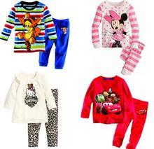 summer clothes girls baby kids children clothing sets suits pajamas for boys 2 piece sleepwear fashion cartoon minnie(China (Mainland))