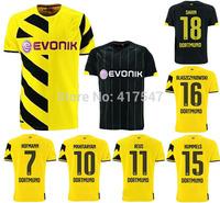 2014/2015 BORUSSIA DORTMUND home&away soccer jersey,14/15 9# Lewandowski Gotze Reus sahin mkhitaryan best quality soccer shirt