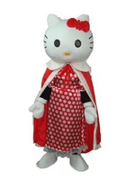 NEW ARRIVE Hello Kitty with Red Cloak Fancy Dress Mascot Costume Adult Character Cosplay mascot costume free shipping